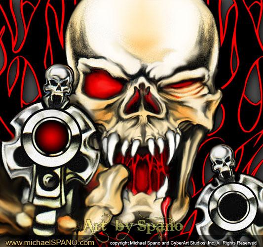 Gun T Shirts >> Wicked Skull Art - Art by Spano